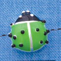 B1294 tlf - Lime Green Ladybug - Silver Plated Bead (2 per package)
