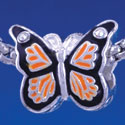 B1319 tlf - Orange Monarch Butterfly with Swarovski Crystals - Silver Plated Large Hole Bead (6 per package)