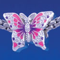 B1320 tlf - Hot Pink & Purple Butterfly - Silver Plated Large Hole Bead (2 per package)