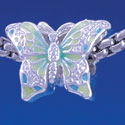 B1321 tlf - Lime Green & Blue Butterfly - Silver Plated Large Hole Bead (2 per package)