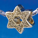 B1324 tlf - Beaded Star of David - Gold Plated Large Hole Bead (6 per package)