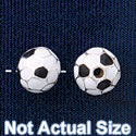 B1433 tlf - 8mm Soccer ball - Silver Plated Bead (6 per package)