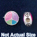 B1440 tlf - 10mm Translucent Multicolored Peace Sign - Silver Plated Bead (6 per package)