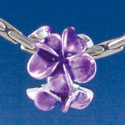B1457 tlf - Purple Plumeria Flowers - Silver Plated Large Hole Bead (6 per package)