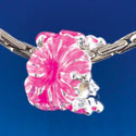 B1467 tlf - Hot Pink Hibiscus Flowers - Silver Plated Large Hole Bead (6 per package)