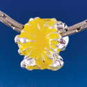 B1469 tlf - Hot Yellow Hibiscus Flowers - Silver Plated Large Hole Bead (6 per package)