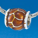 B1554 tlf - Translucent Brown Giraffe Animal Print - Silver Plated Large Hole Bead (2 per package)