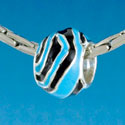 B1672 tlf - Wide Hot Blue Zebra Print Band - Silver Plated Large Hole Bead (6 per package)