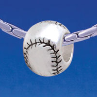 B1705 tlf - Silver Baseball/Softball - Im. Rhodium Plated Large Hole Bead (6 per package)