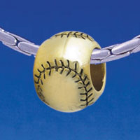 B1706 tlf - Gold Baseball/Softball - Gold Plated Large Hole Bead (6 per package)