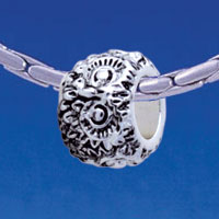 B1716 tlf - Owl Eyes - Im. Rhodium Plated Large Hole Bead (6 per package)
