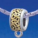 B1726 tlf - Celtic Knot Trinity Band - Charm Hanger - Im. Rhodium & Gold Plated Large Hole Bead (6 per package)
