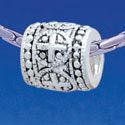 B1729 tlf - Greek Cross Dot Pattern - Im. Rhodium Plated Large Hole Bead (6 per package)