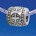 B1730 tlf - Greek Cross Dot Pattern - Im. Rhodium & Gold Plated Large Hole Bead (2 per package)