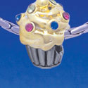 B1750 tlf - Two Tone Cupcake with Swarovski Crystal Sprinkles - Im. Rhodium & Gold Plated Charm (6 per package)