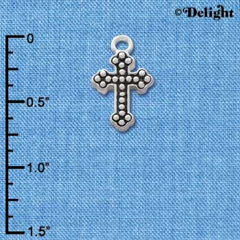 C1188* ctlf - Beaded Silver Cross - Silver Plated Charm (6 per package)