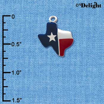 C1257 tlf - Texas Lone Star - Im. Rhodium Plated Charm (6 per package)