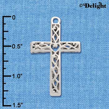 C4481+ tlf - Large Celtic Vine Cross - Silver Plated Charm (2 per package)