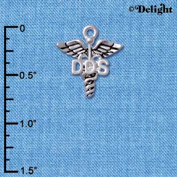 C5001 tlf - Caduceus - DDS - Silver Plated Charm (6 per package)