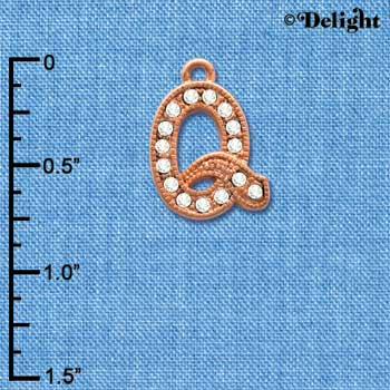 C5057 tlf - Crystal Rose Gold Letter - Q - Beaded Border - Rose Gold Plated Charm (2 per package)