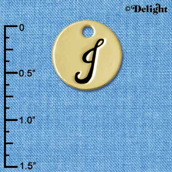 "C5107+ tlf - Script Letter J on 3/4"" Disc - Gold Plated Charm (2 per package)"