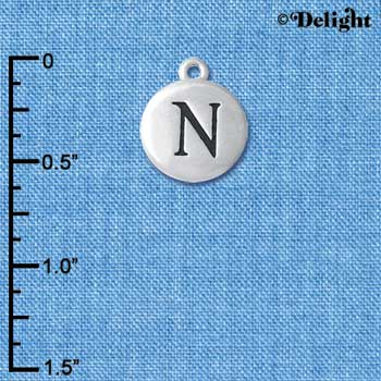 "C5138+ tlf - Capital Letter N on 1/2"" Pebble Disc - Silver Plated Charm (6 per package)"