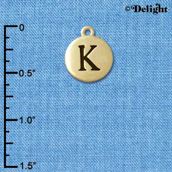 "C5162+ tlf - Capital Letter K on 1/2"" Pebble Disc - Gold Plated Charm (6 per package)"