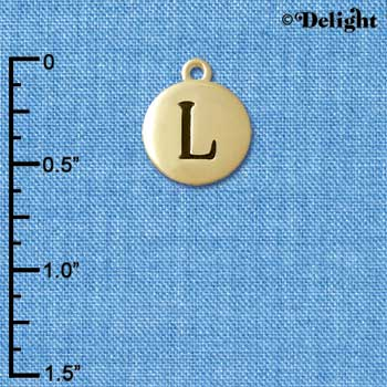 "C5163+ tlf - Capital Letter L on 1/2"" Pebble Disc - Gold Plated Charm (6 per package)"