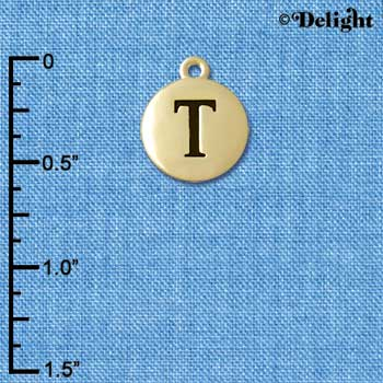 "C5171+ tlf - Capital Letter T on 1/2"" Pebble Disc - Gold Plated Charm (6 per package)"