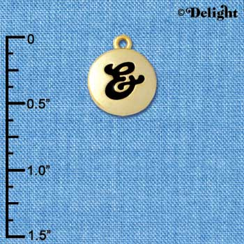 "C5178+ tlf - Capital Letter & on 1/2"" Pebble Disc - Gold Plated Charm (6 per package)"