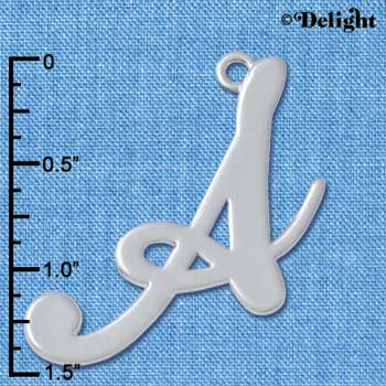 "C5219 tlf - Large Gelato Script A - 1 1/4"" - Silver Plated Charm (2 per package)"