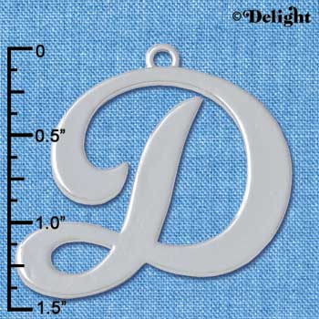 "C5222 tlf - Large Gelato Script D - 1 1/4"" - Silver Plated Charm (2 per package)"