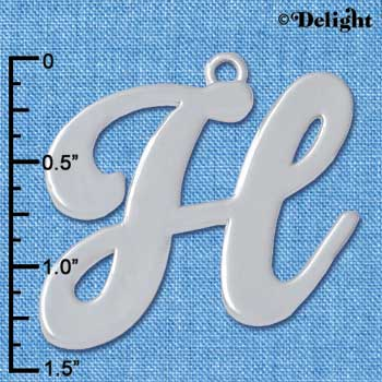 "C5226 tlf - Large Gelato Script H - 1 1/4"" - Silver Plated Charm (2 per package)"