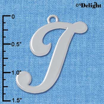 "C5227 tlf - Large Gelato Script I - 1 1/4"" - Silver Plated Charm (2 per package)"