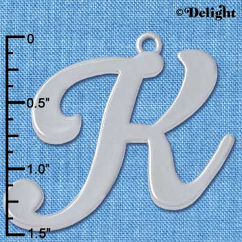 "C5229 tlf - Large Gelato Script K - 1 1/4"" - Silver Plated Charm (2 per package)"