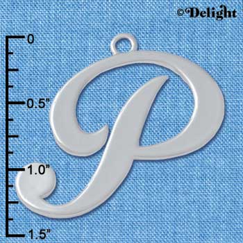 "C5234 tlf - Large Gelato Script P - 1 1/4"" - Silver Plated Charm (2 per package)"