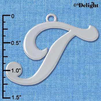 "C5238 tlf - Large Gelato Script T - 1 1/4"" - Silver Plated Charm (2 per package)"