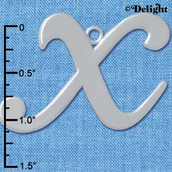 "C5242 tlf - Large Gelato Script X - 1 1/4"" - Silver Plated Charm (2 per package)"