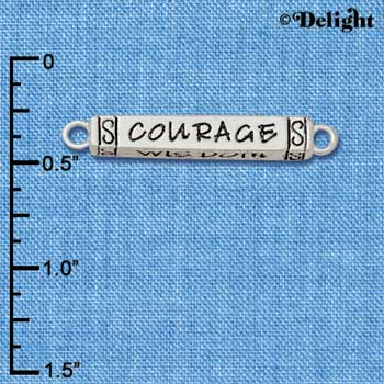 C5895+ tlf - Courage Strength Wisdom Honesty Bar - Silver Plated Charm (2 per package)