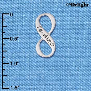 C6081+ tlf - Te Amo Infinity Sign - Silver Plated Charm (6 per package)
