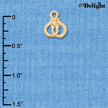 C6230+ tlf - Mini Handcuffs - Goldtone Plated Charm (6 per package)