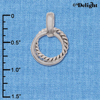 C6233+ tlf - Small Rope Ring Pendant - Silver Plated Pendant (6 per package)
