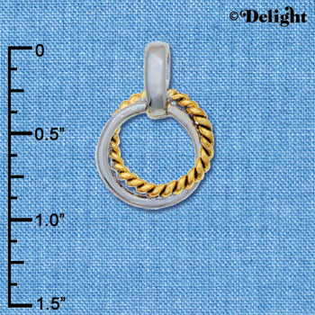 C6235+ tlf - Small Two Tone Rope Ring Pendant - Im. Rhodium & Goldtone Plated Pendant (2 per package)