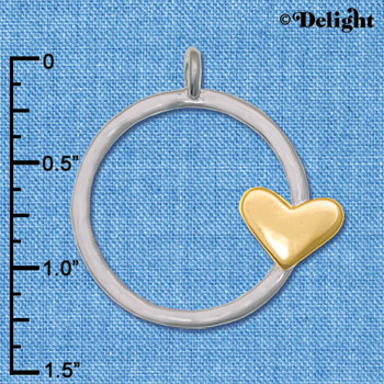 C6243 tlf - Gold Tone Heart on Large IR Ring Pendant - Im. Rhodium & Goldtone Plated Pendant (2 per package)