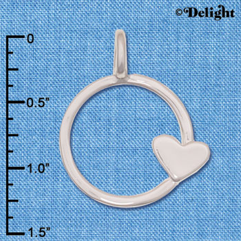 C6245 tlf - Heart on Small Ring Pendant - Im. Rhodium & Goldtone Plated Pendant (6 per package)