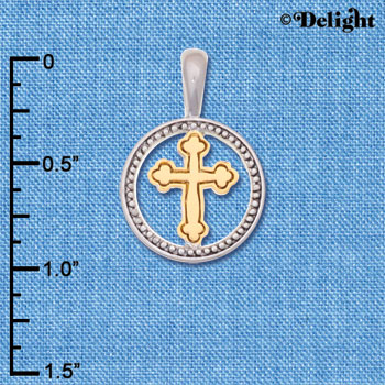 C6246+ tlf - Small Gold Tone Cross in IR Ring - Im. Rhodium & Goldtone Plated Pendant (2 per package)