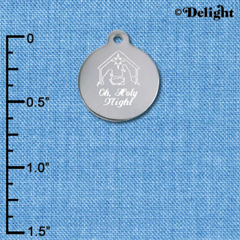 C6504-J tlf - Engraved Oh, Holy Night Nativitiy - Stainless Steel Charm (2 per package)