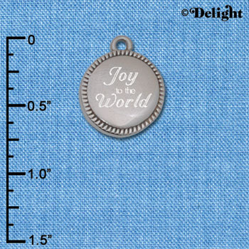 C6505-G tlf - Engraved Joy to the World on Flange - Stainless Steel Charm (2 per package)