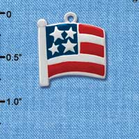 C1002 tlf - Large USA Flag - Silver Plated Charm (6 per package)