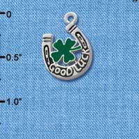 C1016* tlf - Horseshoe Clover - Silver Plated Charm (left & right) (6 per package)